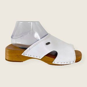 Skora Naturalna Leather Wood Sole Slide On Sandals